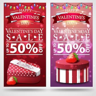 Twee korting banner valentijnsdag