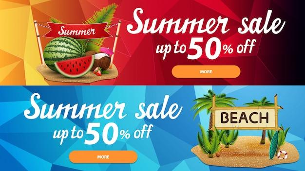 Twee korting webbanners voor zomer verkoop met veelhoekige textuur