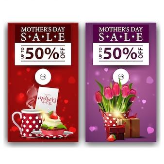 Twee kortings moderne verticale banners voor moederdag