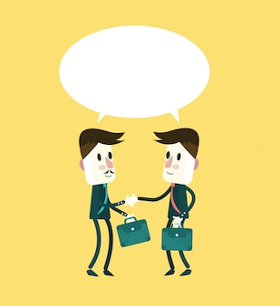 Twee lachende zakenman in pakken is handshaking en praten. platte karakterontwerp. vector illustratie