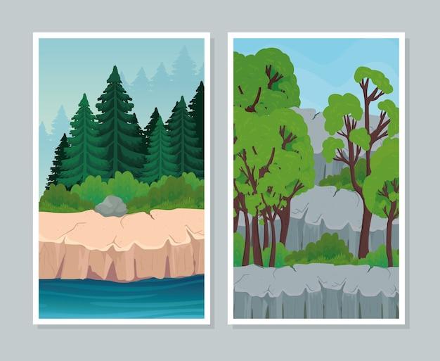 Twee landschapsbanners decorontwerp, natuur en buiten