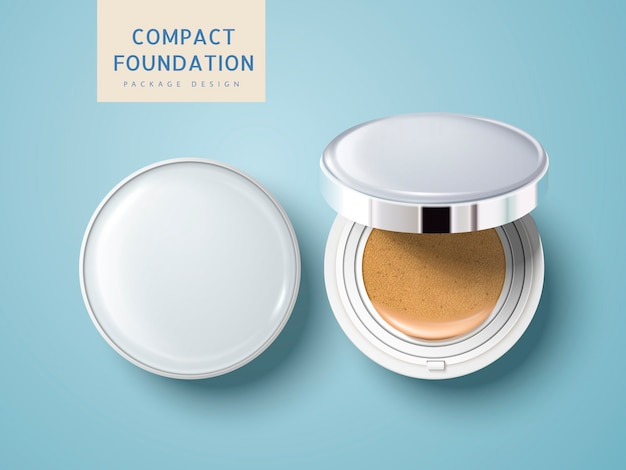 Twee lege cosmetische foundationkoffers, een half open, kunnen worden gebruikt als pakketelementen, geïsoleerde lichtblauwe achtergrond
