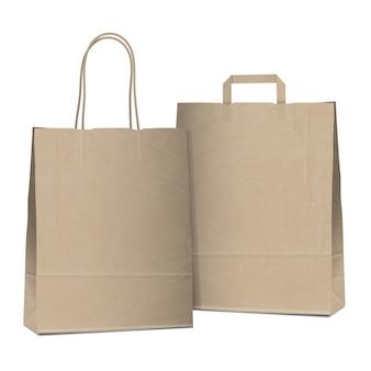 Twee lege winkelen bruine tassen