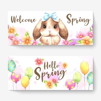 Twee lente banner achtergrond met schattige puppy erop.