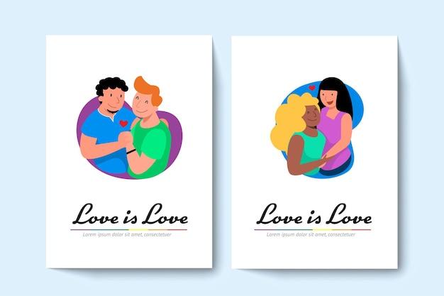 Twee lgbt homopaar en lesbisch koppel knuffelen elkaar.