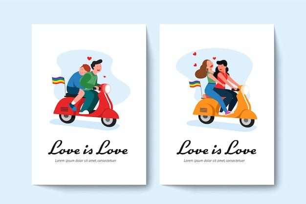 Twee lgbt homopaar en lesbisch koppel rijden op een scooter.