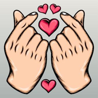 Twee liefde vinger teken.