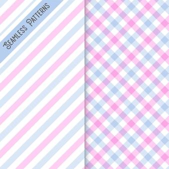 Twee lijnen en geruite naadloze patroon set