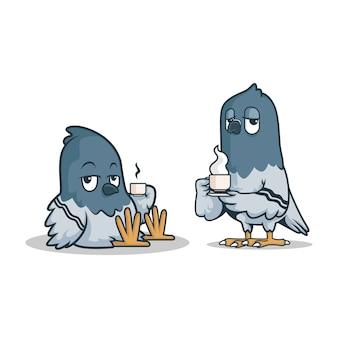 Twee luie duiven met koffie in de vleugels.