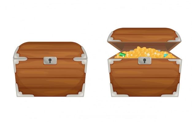 Twee magische cartoon houten open en gesloten borst vlakke afbeelding