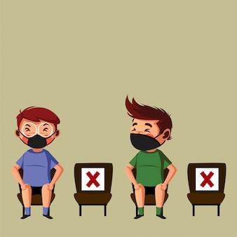 Twee man doet fysieke afstand op de openbare stoel
