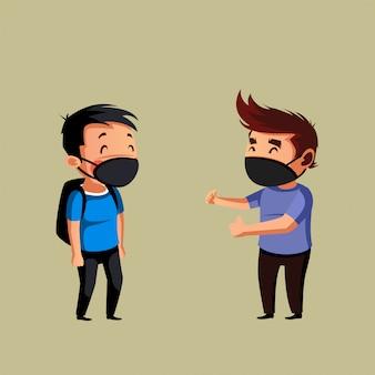 Twee man hebben een gesprek en doen fysieke afstand