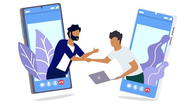 Twee man volledige zakelijke deal via de mobiele telefoon thuis werken in minimaal ontwerp