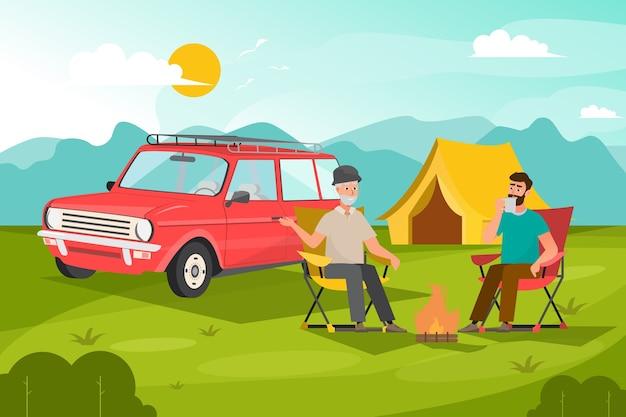 Twee man zit om te ontspannen met kampeertijd in bergen bos