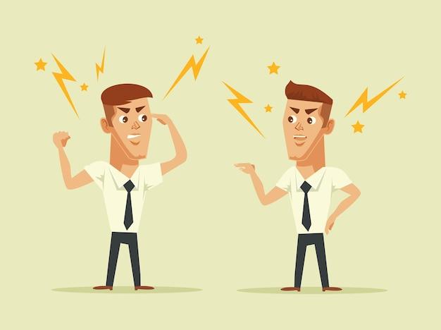 Twee managers maken ruzie met elkaar platte cartoon afbeelding