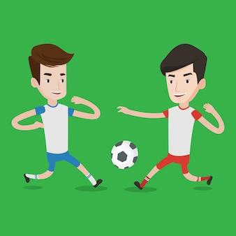 Twee mannelijke voetballers die voor bal vechten.