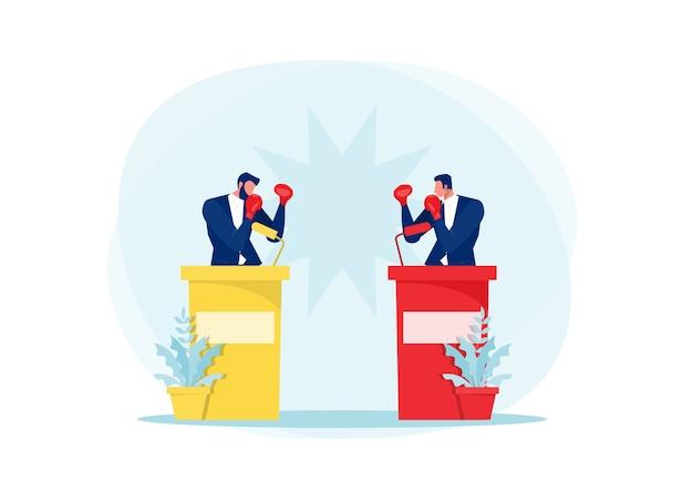 Twee mannen actieve politieke discussie, debatteren, cartoon flat
