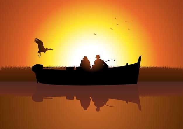 Twee mannen die op boot vissen