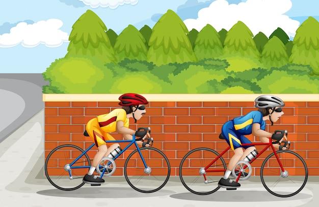 Twee mannen fietsen Gratis Vector
