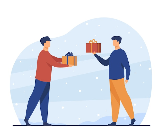 Twee mannen geven elkaar cadeautjes. vriend, cadeau, partij vlakke afbeelding. cartoon afbeelding
