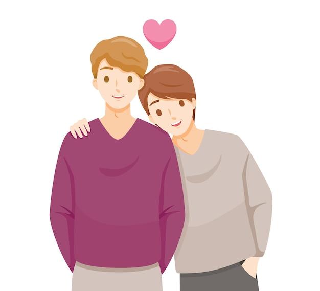 Twee mannen knuffelen elkaar, minnaar, valentijnsdag Premium Vector