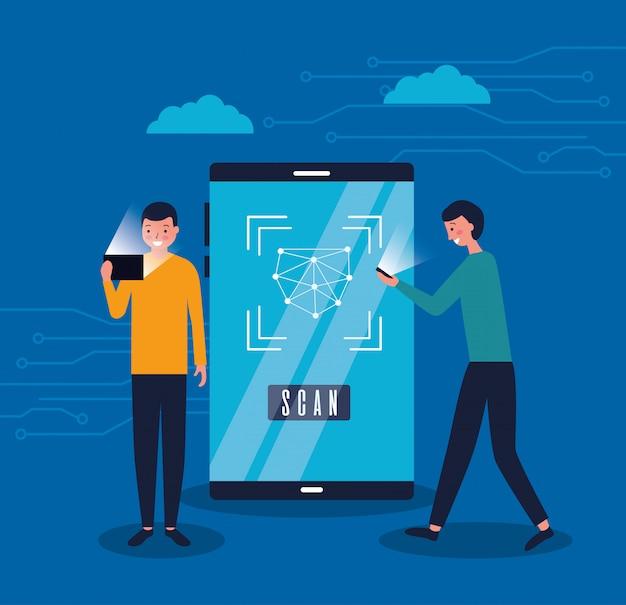 Twee mannen met mobiel gezicht scannen digitaal