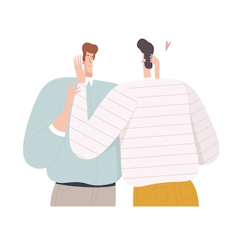 Twee mannen omhelzen elkaar en kijken in plat design in hun ogen