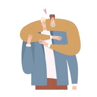Twee mannen omhelzen elkaar in een plat ontwerp