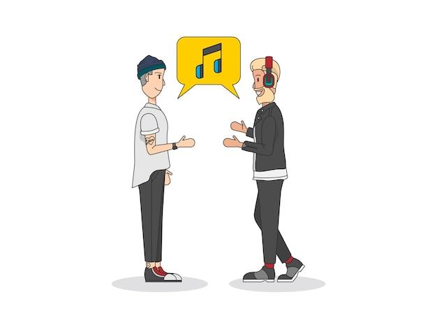 Twee mannen praten over muziek
