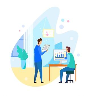 Twee mannen praten over projectresultaten op kantoor