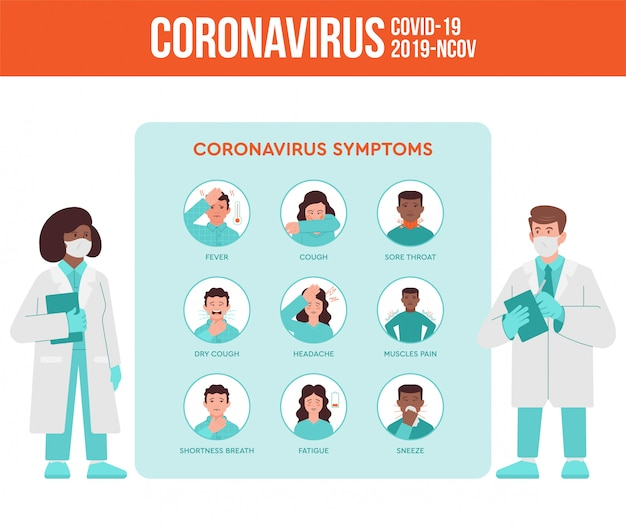 Twee medici, arts en verpleegkundige vertellen over coronavirus symptomen, quarantaine pandemie situatie voor de mensen. covid-19, 2019-ncov virus set infographic instructie. platte ontwerp moderne illustratie