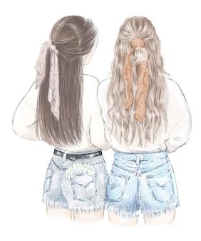 Twee meisjes beste vrienden in sweatshirts en jeans shorts met de hand getekende illustratie