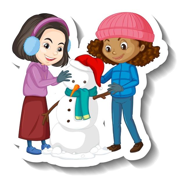 Twee meisjes bouwen een sneeuwpop stripfiguur sticker