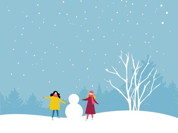 Twee meisjes bouwen een sneeuwpop. vrienden winter buitenactiviteit. vlakke afbeelding.