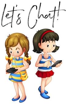 Twee meisjes chatten op de telefoon