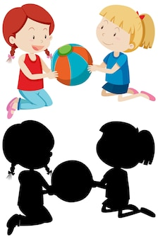 Twee meisjes die een bal spelen in kleur en silhouet