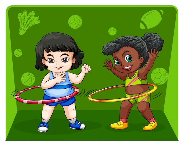 Twee meisjes doen hulahoops