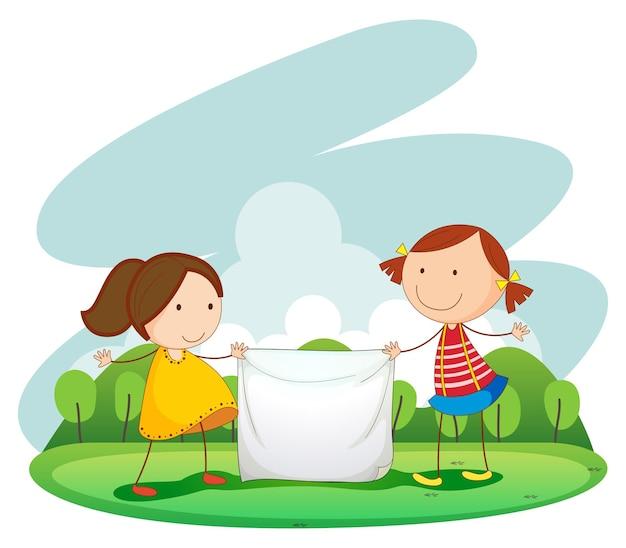 Twee meisjes houden een doek vast in het park