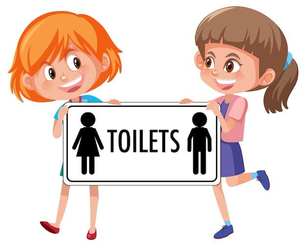 Twee meisjes houden toiletten teken geïsoleerd op wit