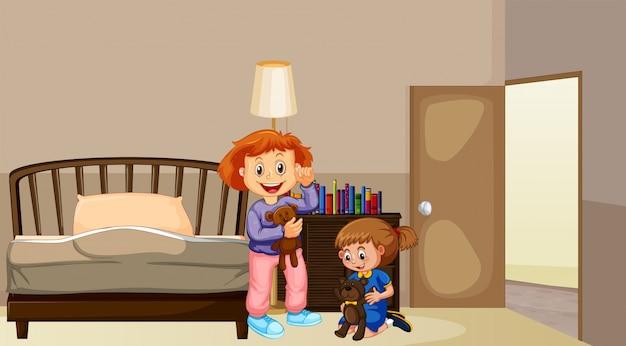 Twee meisjes in de slaapkamer