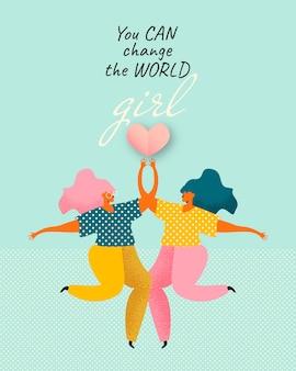 Twee meisjes met hart