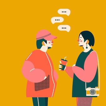 Twee meisjes praten samen illustratie. trendy kleuren