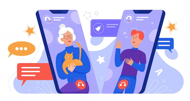 Twee mensen communiceren door smartphones karakter plat creatief concept vectorillustratie