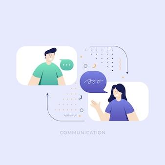 Twee mensen die een chatgesprek voeren vectorillustratie