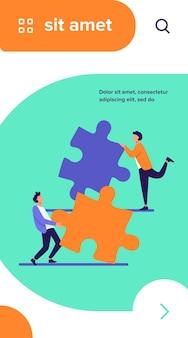Twee mensen die puzzelstukjes met elkaar verbinden. collega's of partners die samen aan oplossing werken platte vectorillustratie