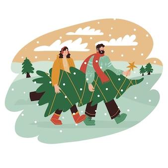 Twee mensen die samen een grote kerstboom van de markt dragen vectorillustratie in vlakke stijl