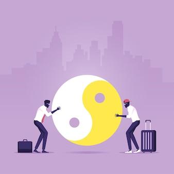 Twee mensen die yin en yang in evenwicht houden tussen werk en leven