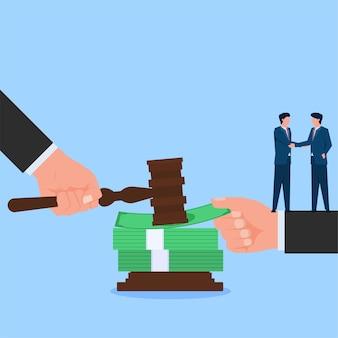 Twee mensen handdruk voor het ontkennen van de wet met geld