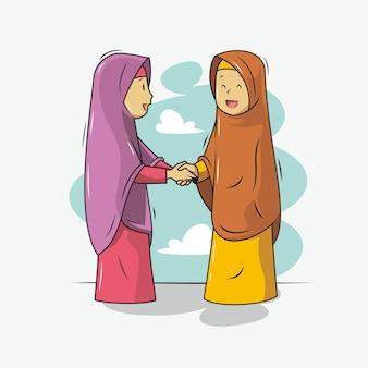 Twee mensen handen schudden illustratie