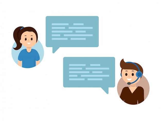 Twee mensen hebben een chat. tekstballonnen.